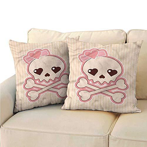 Godves Pillow Covers Skull Crossbones with Heart Shape Super Soft and Luxury, Hidden Zipper Design 24