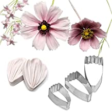 AK Art Kitchenware Daisy Petal Sugar Flower Making Tool Leaf and Petal Tool Kit Stainless Steel Cutter Mold Silicone Veining Mold Petal Texture Tool A336&VM071-1