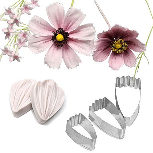AK ART KITCHENWARE Coreopsis Daisy Gumpaste Making Tools Stainless Steel Fondant Cutter Veining Mold Silicone Veining Molds Vein Texture Tools A336&VM071-1