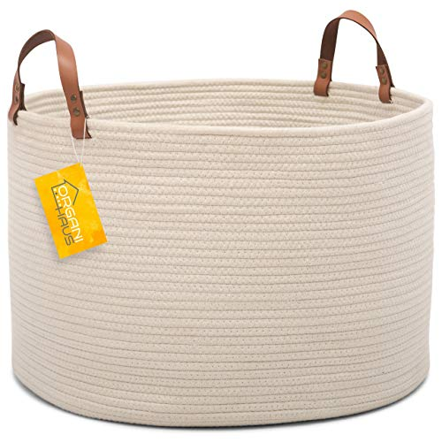 OrganiHaus XXL Extra Large Cotton Rope Basket with Real Leather Handles | Wide 20