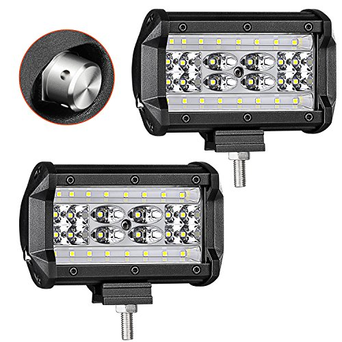 Quad Row LED Light Bar, AKD Part 2pcs 168W LED Pods 5 inch Spot Flood Combo Beam OSRAM LED Work Light Fog Light Off Road Lighting Waterproof Super Bright LED Driving Lights for Motorcycle Truck Boat