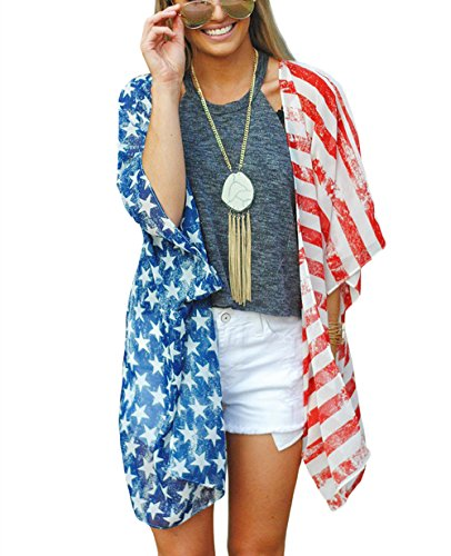 DDSOL Women's American Flag Kimono Cover up Beachwear Cardigan Loose Tops Shirt Blouse(Red One Size) -