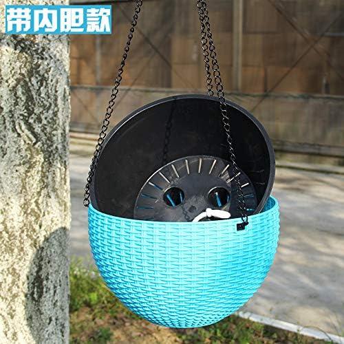 Hanging Basket 2pcs Imitation Rotin Pot De Fleur Ronde R/ésine Jardin Planteur En Plastique Avec Cha/îne Aspiration Eau Porter Durable Auto-arrosage Art Plantant Outil S:16.5 * 10cm chain 46,Blue