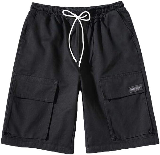 Hombre Verano Suelto Color Sólido Cintura Elástica Pantalón Corto ...