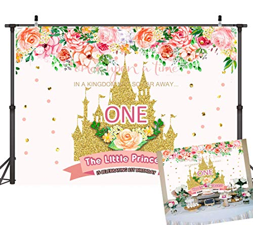 Art Studio 7x5ft Pink Kingdom Little Princess 1st Birthday Backdrops For Photography Spring Floral Gold Sequin Castle Girl One Fairy Tale Theme Birthday Party Decor Photo Background Studio Props Vinyl