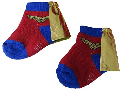 Dc Comics Wonder Woman Infant Red Socks with Cape 0-6M - Cape Woman Socks Wonder