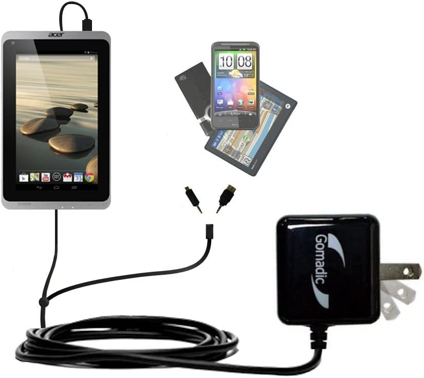 Gomadic Multi Port AC Home Wall Charger designed for the Acer Iconia A1-830 - Uses TipExchange to charge up to two devices at once