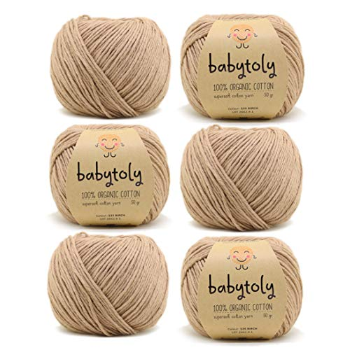 6 Skein 100% Organic Cotton GOTS Certified Knitting Yarn Each 1.76 Oz (50g) / 115 Yrds (105m) Super Soft, Pure Natural Eco Baby Yarn, Organic Cotton Yarn, DK Medium Worsted, Birch - 535