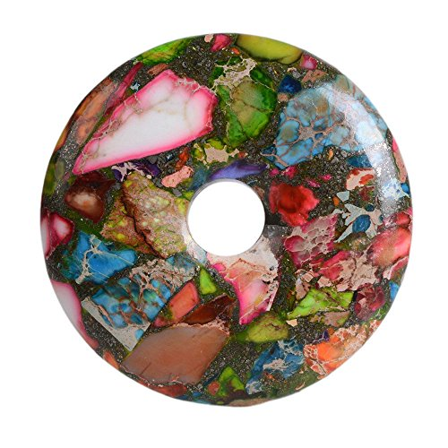 (40mm Multi-Color sea Sediment Jasper & Pyrite donut pendant Bead)