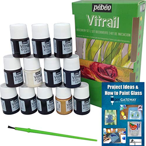 Permanent Glass Paint Stain Kit, Solvent Based 12 Pack, 20ml Professional Stained Glass Finish