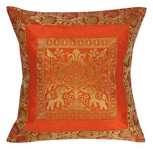 Lal Haveli 18×18 Inch (45×45 cm) India Style Elephant Decorative Throw Pillow Cushion  ...