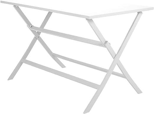 Mesa de Comedor de Aluminio Blanco para Exterior. Plegable. 120x70x74cm.: Amazon.es: Jardín