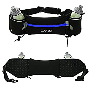 Running Hydration Belt by Acolife - Fuel Belt Fits iPhone 6s Plus for Running, Race, Marathon, Hiking, Adjustable Waist Hydration Pack, Men & Women Runners Belt- Blue (not including bottles)
