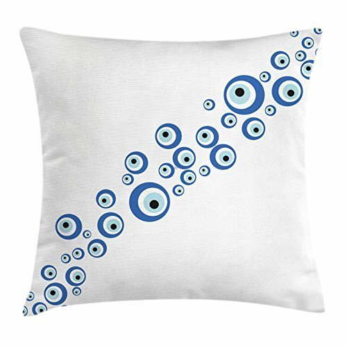Diagonal Accent - FunnyLife Evil Eye Throw Pillow Cushion Cover, Diagonal Evil Eye Stones Pattern Ancestral Ottoman Superstitious Belief, Decorative Square Accent Pillow Case Navy Blue Pale Blue