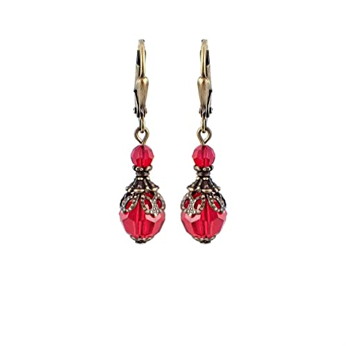 a1bf0fbf6 Amazon.com: Victorian Style Red Lever-back Earrings with Swarovski ...