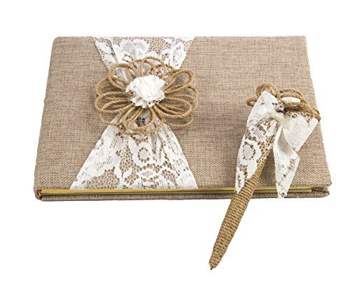 Darice David Tutera Burlap and Lace Guest Book and Pen Set ()