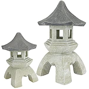 Design Toscano Asian Decor Pagoda Lantern Outdoor Statue, Medium 25.5 cm and Large 43 cm, Set of Two, Polyresin, Two…