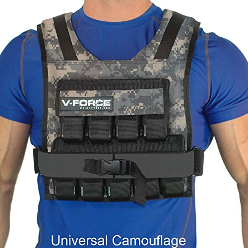 45 Lb. V-FORCE Weight Vest, Universal Camouflage with narrow shoulders