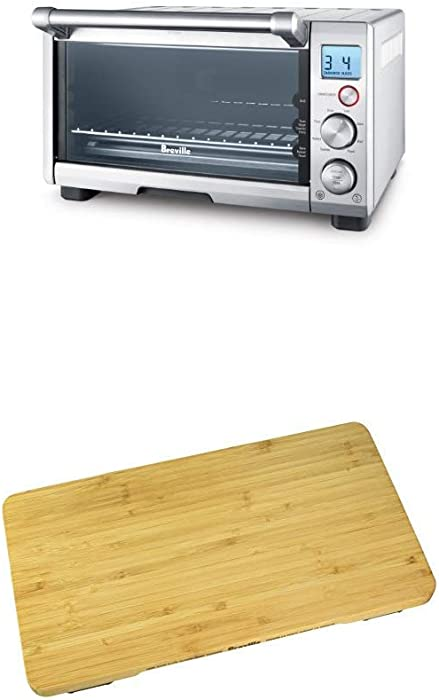 BREVILLE the Compact Smart Oven, Countertop Electric Toaster Oven BOV650XL with Breville BOV650CB Bamboo Cutting Board for use with BOV650XL Compact Smart Oven