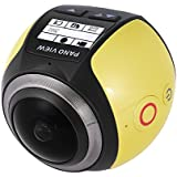 Andoer 360 Degree Wifi 2448P 30FPS 16M Fisheye Film Source Panorama Camera for Virtual Glasses VR Action Sports Outdoor Activities Camera Camcorder Car DVR