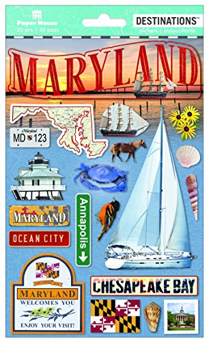 (Paper House Productions Travel Maryland 2D Stickers, 3-Pack)
