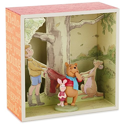 (Pooh and Gang at Tree Base Shadow Box With Figurine Decorative Accessories)