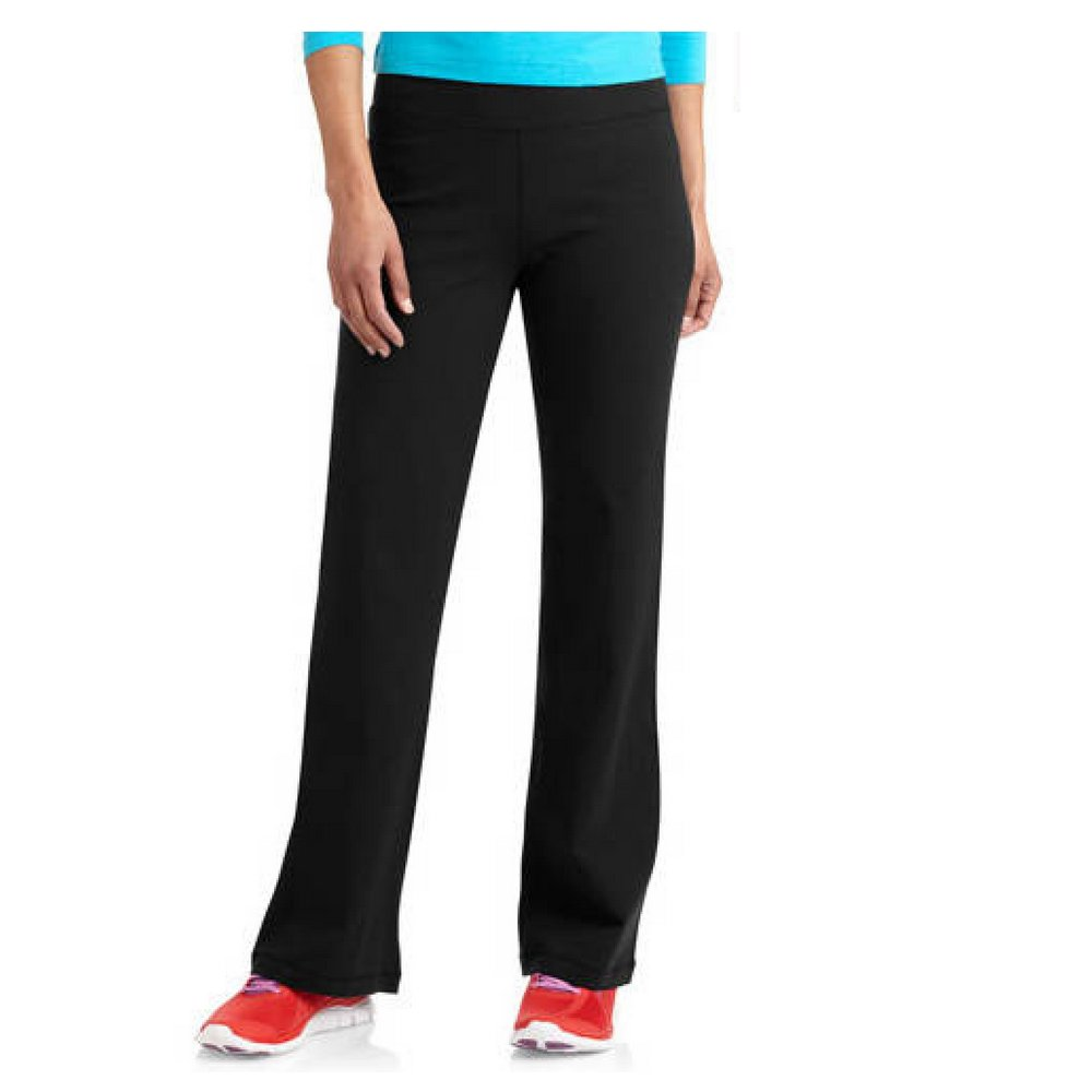 Danskin Now Womens Dri-More Core Bootcut Yoga Workout Pants - Regular or Petite (Large Petite, Black)