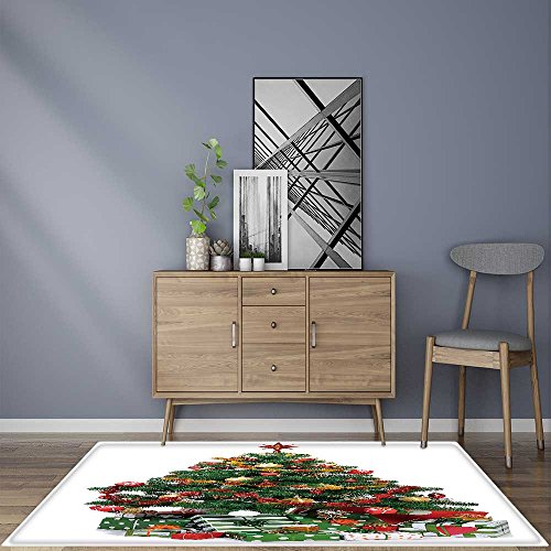Ultimate Decorated Tree (Rug for Home, Office decorated Christmas fir tree with gifts Rug for Picnics or Beaches Outings 2' X 4')