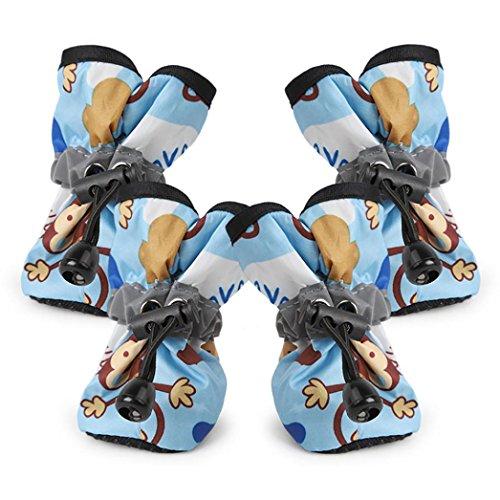 Pet Rain Boot, OOEOO Comfortable Anti-Slip Shoes Puppy Dog Cat Waterproof Pup Socks (Sky Blue, S) from OOEOO Pet Clothes