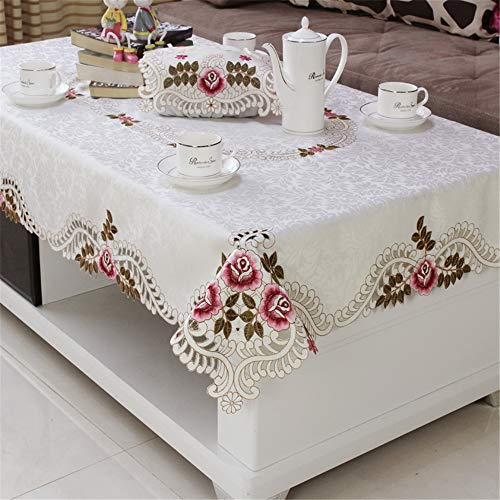 - ersgfv Family Hotel Catering Wedding White red Tablecloth with lace Silk Embroidery Floral Rectangular Tablecloth AE 56x56cm