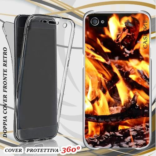 CUSTODIA COVER CASE BURNING FIRE PER IPHONE 5 FRONT BACK