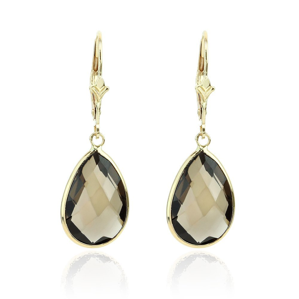 14K Yellow Gold Gemstone Earrings With Dangling Pear Shaped Smoky Quartz