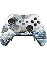eXtremeRate Patterned Front Housing Shell Faceplate for Xbox One Elite Controller with Thumbstick Accent Rings - The Great Wave - Model 1698