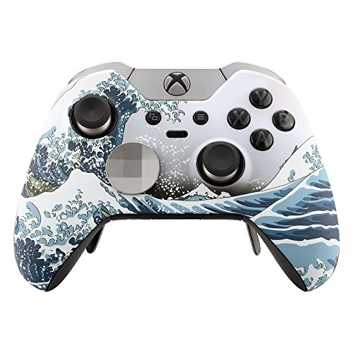 - eXtremeRate Patterned Front Housing Shell Faceplate for Xbox One Elite Controller with Thumbstick Accent Rings - The Great Wave