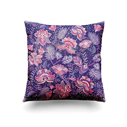 Assp Throw Pillow Cover Pink Flower for Pocket Shawl Colorful Floral Pattern Batik 20x20 Inches Home Decorative Square Pillow Case Cushion Cover