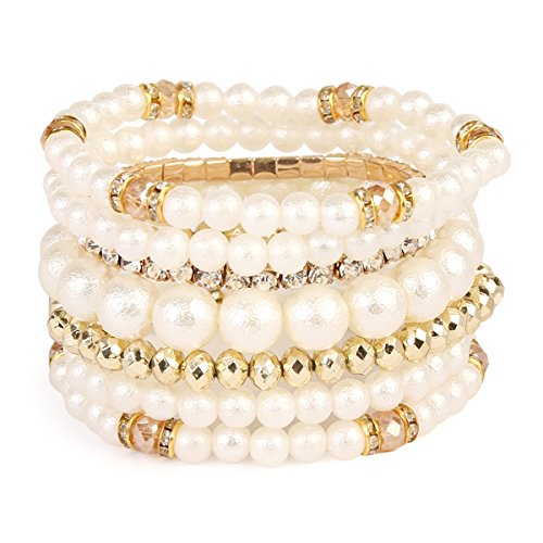 MYS Collection Pearl Stackable Stretch Bracelets - Layering Bead Multi Strand Statement Bangles (Pearl Gold Strand Bracelets)