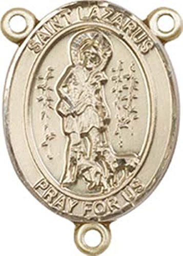 14K Gold Filled Saint Lazarus Rosary Centerpiece Medal, 3/4 Inch ()