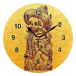 Jojogood Mexican Skeleton Character Clock Wall Decor Acrylic Decorative Round Clock for Home Bedroom Living Room Art
