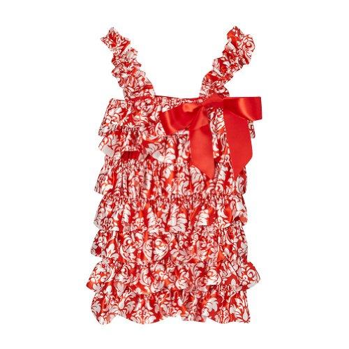 Red Girls Satin Damask Ruffle Tank, Size 4T ()