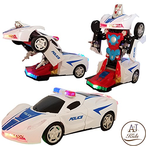 Battery Operated Bump and Go Transforming Toys for Kids -Auto Transforming Auto Robots Action Figure and Toy Vehicles - Realistic Engine Sounds & Beautiful Flash Lights (Police Racing Car) (Bumble Cap Bee Toddler)