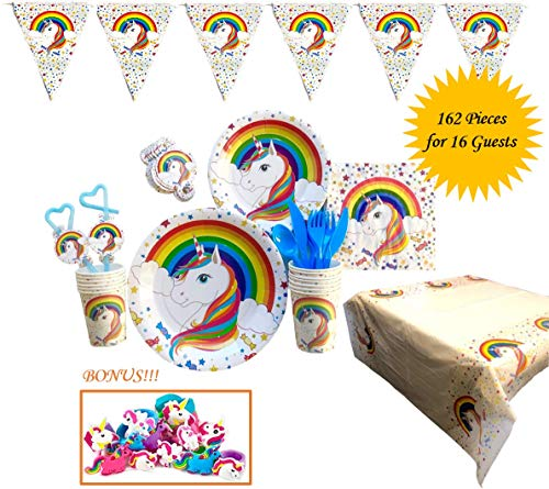 Sprinkles N Sunshine Rainbow Unicorn Party Supplies Set | 162 High Quality Tableware for 16 | Plates, Napkins, Cups, Cutlery, Straws and Decorations, Banner, Table Cover | Bonus Unicorn Party Favors]()