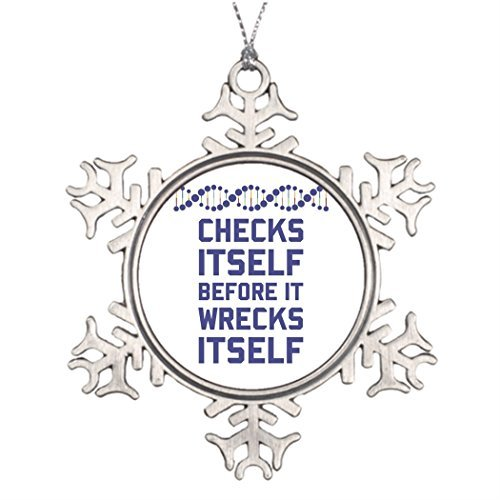 Georgia Barnard Tree Branch Decoration Genes Stained Glass Christmas Snowflake Ornaments Nerd DNA Checks Itself Before It Wrecks Itself. It's a, 3 Inch Metal Ornament