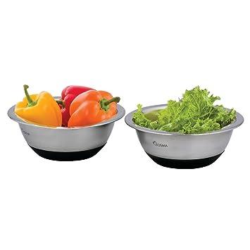 Kosma Set de 2 cuencos de mezcla de ensalada de acero inoxidable con base de silicona antideslizante | Tazón de servir - 20 cm (1.5Litre): Amazon.es: Hogar