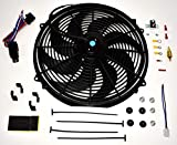A-Team Performance 180081 16inches Radiator Electric Cooling Fan Heavy Duty 12V Wide Curved 8 Blades & Thermostat Kit, 3000 CFM Reversible Push or Pull with Mounting Kit