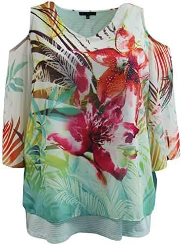 Women's Plus-Size Cold Shoulder Chiffon Fashion T-Shirt Blouse Tee Shirt Top