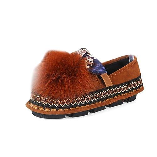 Zapatos De Invierno De Mujer Calzado Mocasines Piel De Zorro Plataforma Pisos Bowtie Slip On Rayas Onduladas Costura Antideslizante Zapatilla De Deporte ...