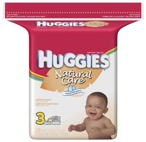 Huggies Natural Care Baby Wipes, Scented, Refill, 216-Count Pack (Pack of 3)=648 Wipes ()