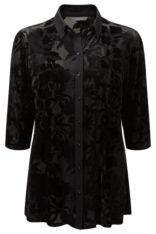 Lavitta - Women's - Black Oriental Devore Overshirt - 12-24 - Plus Size