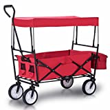 Outdoor All-Terrain Folding Canopy Utility Wagon Folding Collapsible Garden Travel Beach Shopping foldable Cart With Shade Canopy