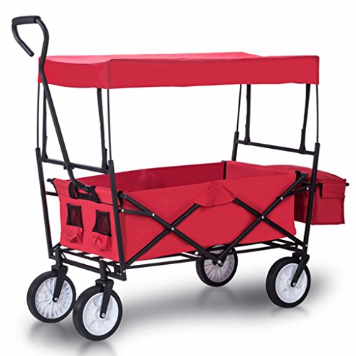 Artist Hand Outdoor All-Terrain Folding Canopy Utility Wagon Folding Collapsible Garden Travel Beach Shopping foldable Cart With Shade Canopy